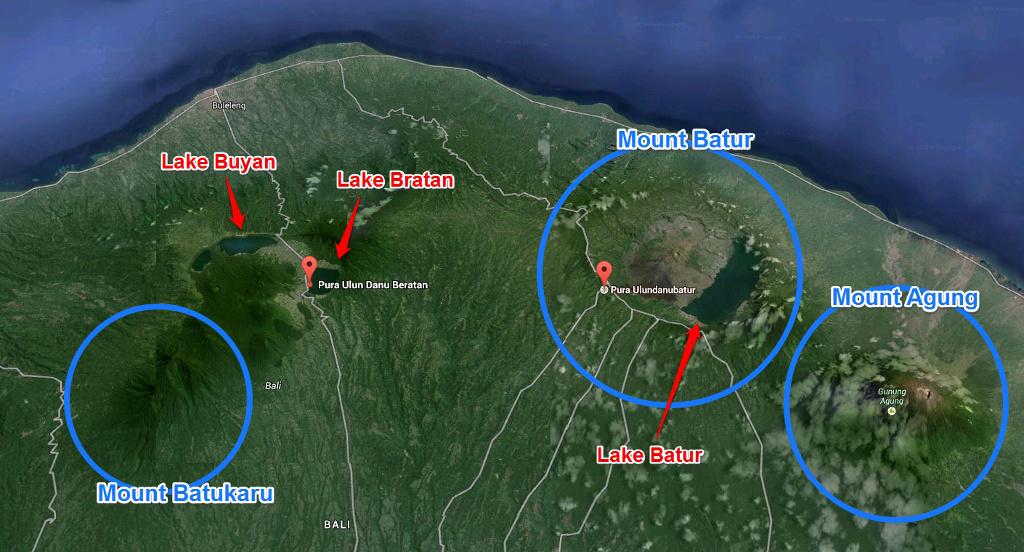 ภูเขาสำคัญของเกาะบาหลี
