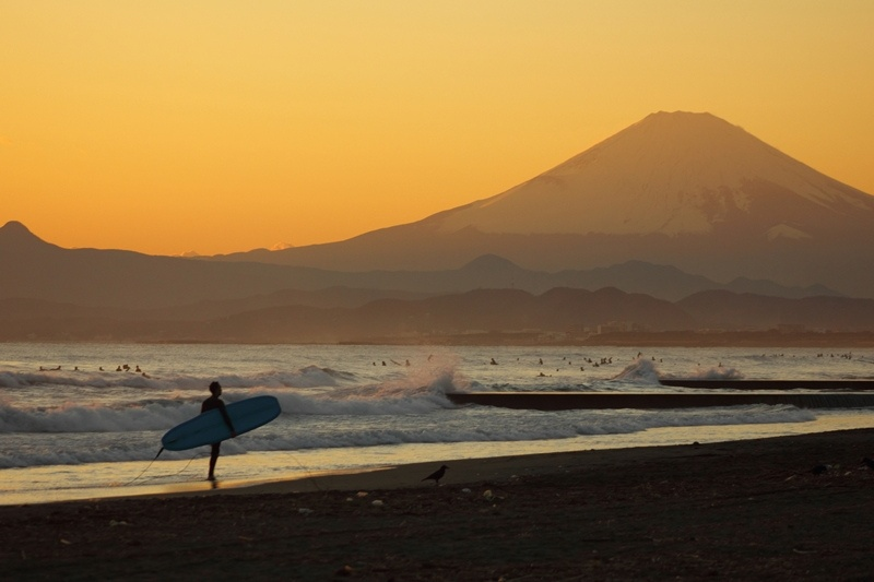 Mt. Fuji of the sunset
