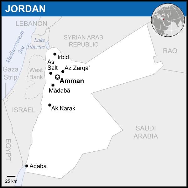 แผนที่ประเทศจอร์แดน (ภาพจาก Wikipedia)