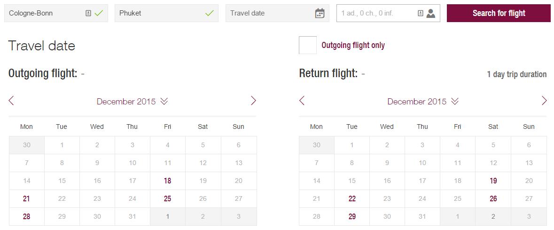 ผังตารางบิน Eurowings โคโลญน์-ภูเก็ต ธันวาคม 2015