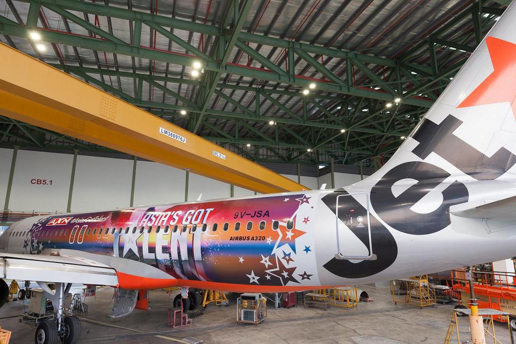 Jetstar Asia แต่งลายเครื่องโปรโมทรายการ Asia Got Talent (ภาพจาก Facebook Jetstar)