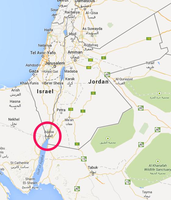 แผนที่ประเทศจอร์แดน แสดงตำแหน่งเมือง Aqaba