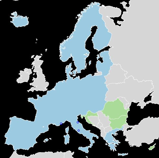 แผนที่กลุ่มประเทศเชงเก้น (สีฟ้าในภาพ) ข้อมูลจาก Wikipedia