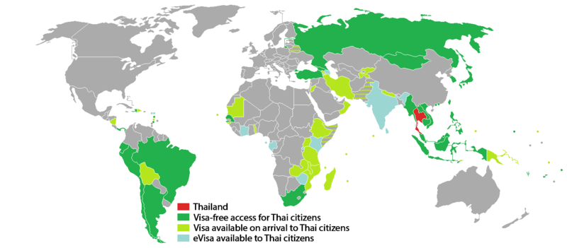 Visa_requirements_for_Thai_citizens as of 13 January 2017