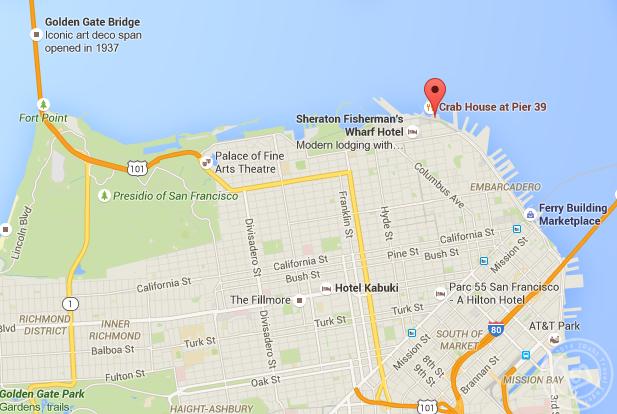 แผนที่แสดงที่ตั้งของท่าเรือ Pier 39