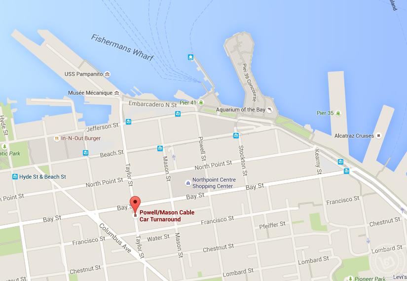 แผนที่แสดงป้ายจอด Cable Car ถนน Taylor Street