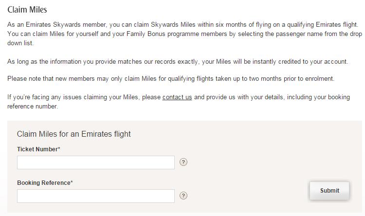 Emirates Claim Miles