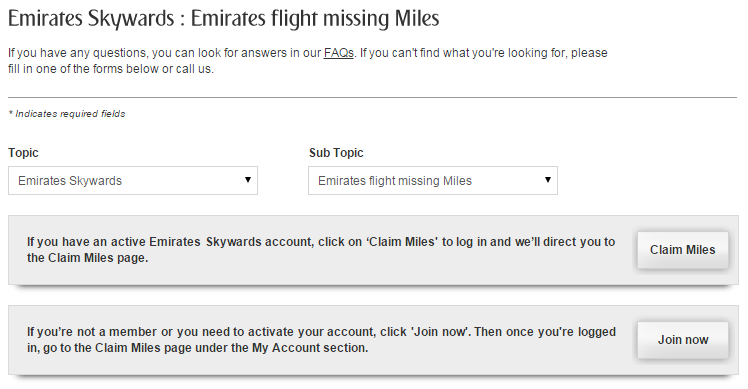 Emirates Missing Miles