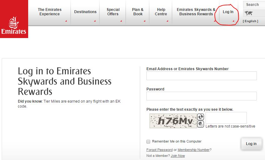 Emirates Login