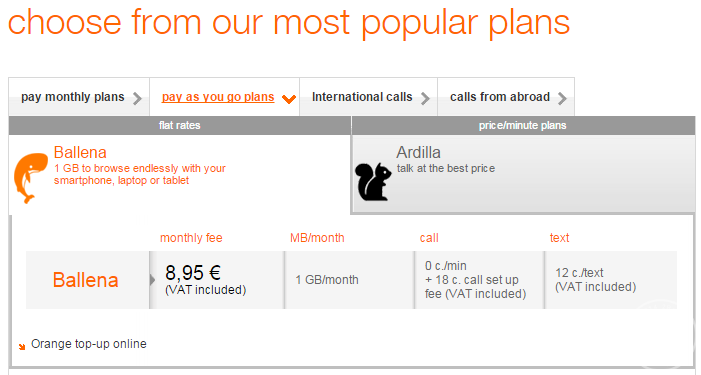 Orange Spain Payg Package