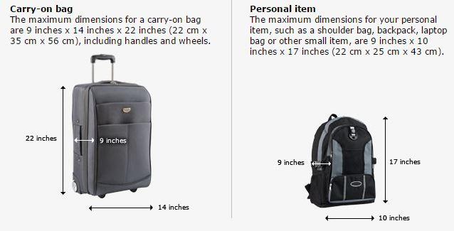 ขนาดกระเป๋า Carry-on ของสายการบิน United ในปัจจุบัน