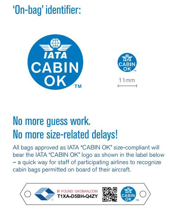โลโก้ IATA Cabin OK ที่ตามแผนเดิมจะติดบนกระเป๋าที่ผ่านมาตรฐาน