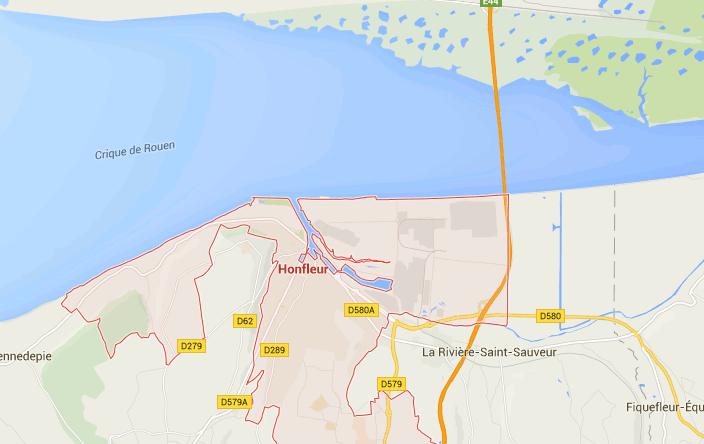 แผนที่เมืองอ็องเฟลอร์ (Honfleur)