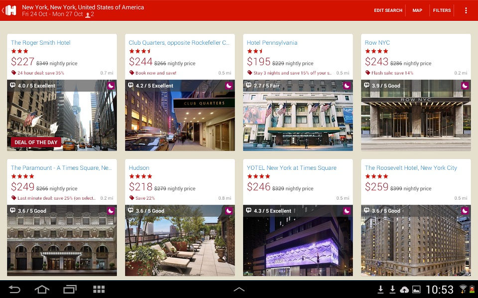 ภาพตัวอย่างหน้าจอแอพของ Hotels.com ที่ออกแบบได้โดนใจผู้บริโภค
