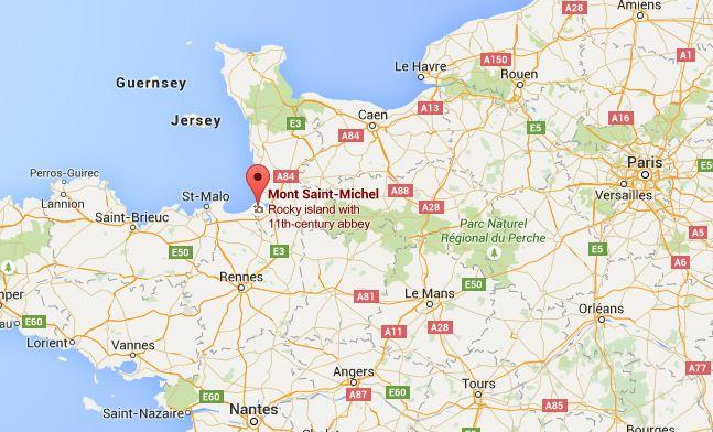 ที่ตั้งของ Mont Saint-Michel ทางตะวันตกของฝรั่งเศส