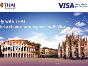 ภาพโฆษณาเส้นทางบินกรุงโรม-มิลาน ของการบินไทยร่วมกับ Visa