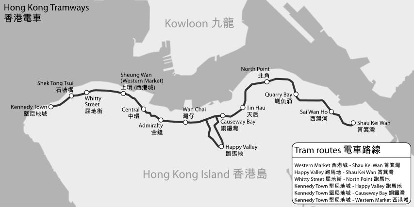 Hong Kong Tramways map