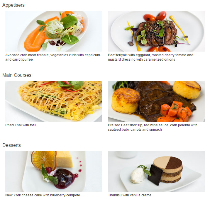 Lufthansa Menu September 2015