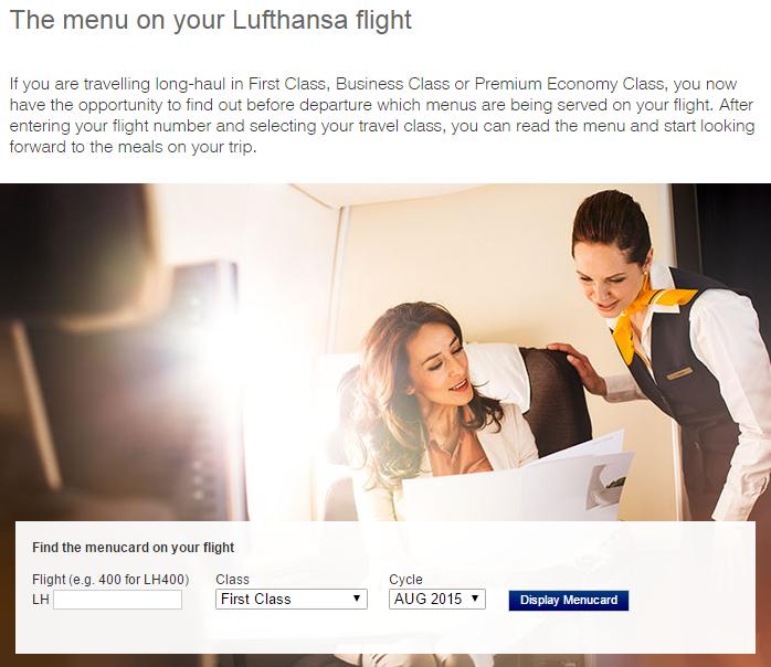 Lufthansa menucard