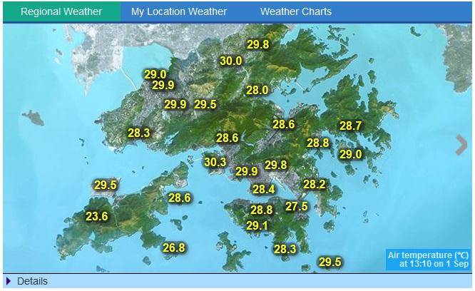 หน้าจอเว็บไซต์ Hong Kong Observatory แสดงสภาพอากาศของเกาะฮ่องกง
