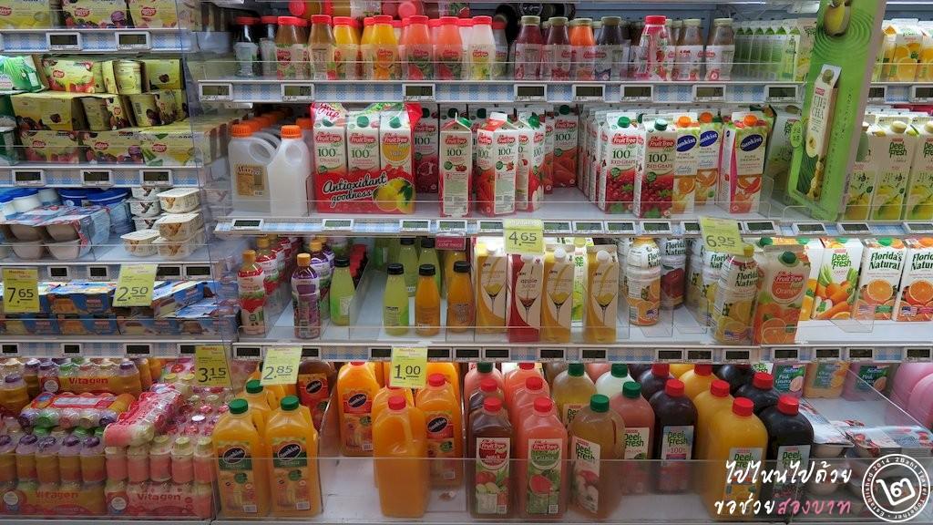 โซนเครื่องดื่มแช่เย็นใน Fairprice ส่วนใหญ่มาจากมาเลเซีย
