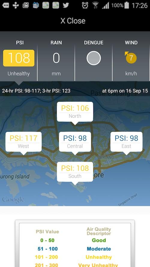 แอพแสดงสภาพดัชนี PSI (หมอกควัน) ที่สิงคโปร์