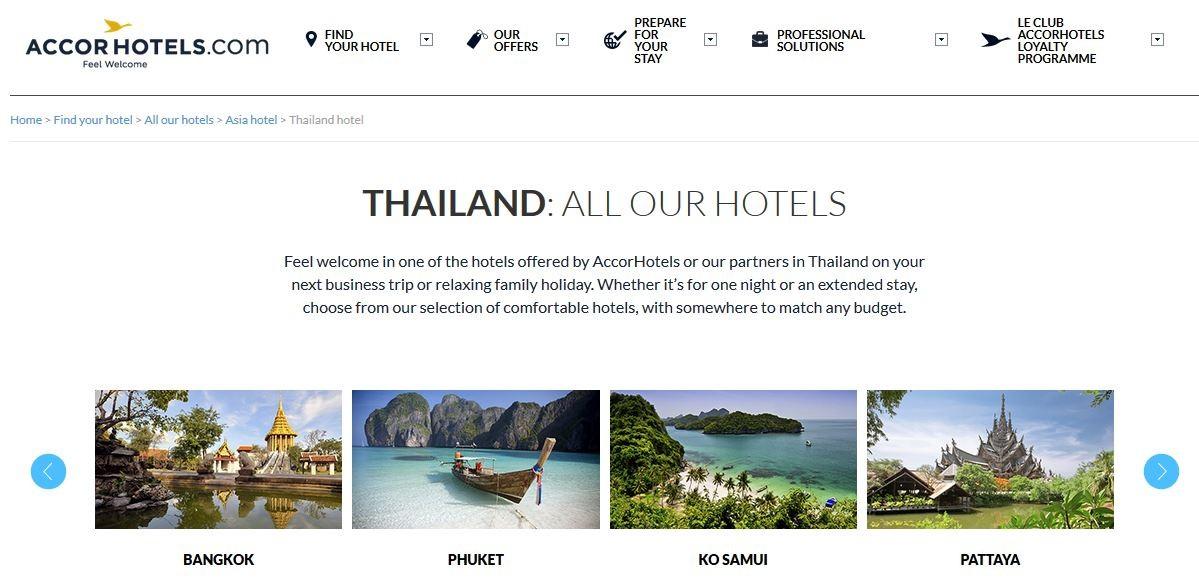 เว็บไซต์ AccorHotels Thailand