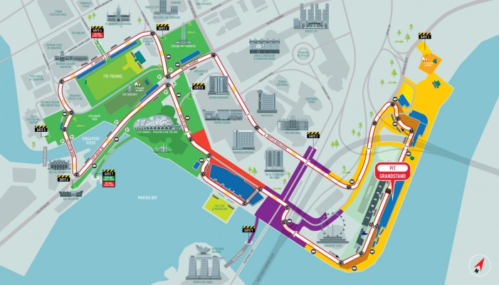 แผนที่สนามแข่ง F1 Singapore (ภาพจากเว็บไซต์ F1 Singapore)
