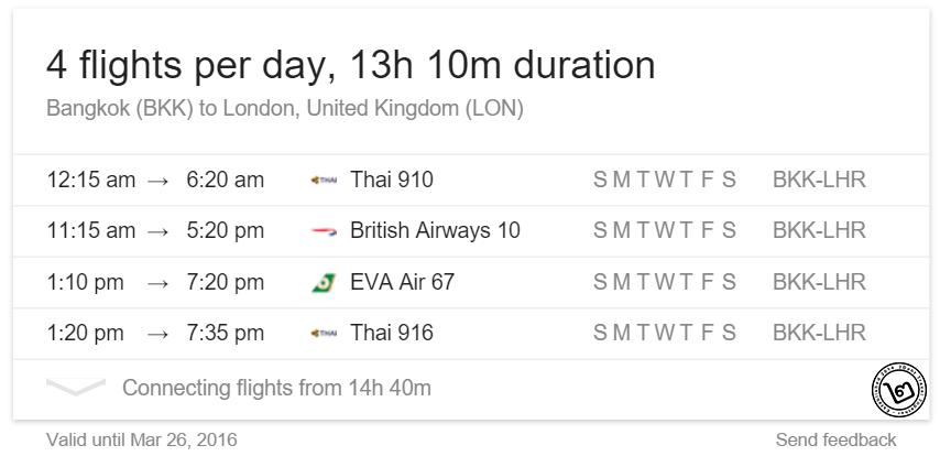 คำสั่ง Google Flight แสดงตารางการบิน