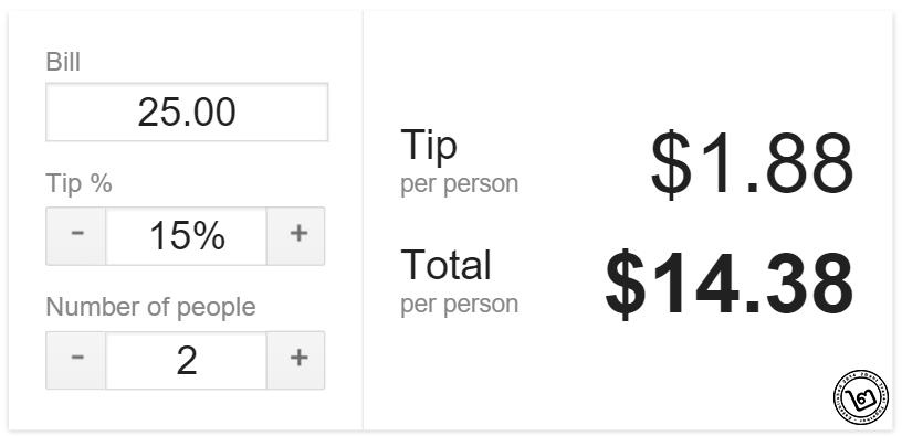 คำสั่ง Google Tip Calculator คำนวณค่าทิปแบบอเมริกันแชร์