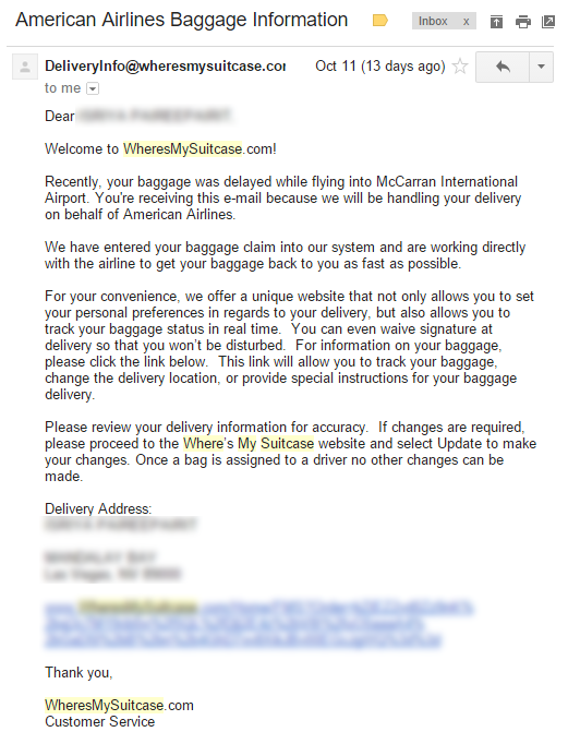 WheresMySuitcase Email