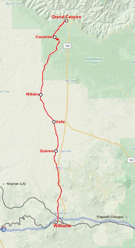 แผนที่ Grand Canyon Railway (ภาพจาก Wikipedia/Jkan997)