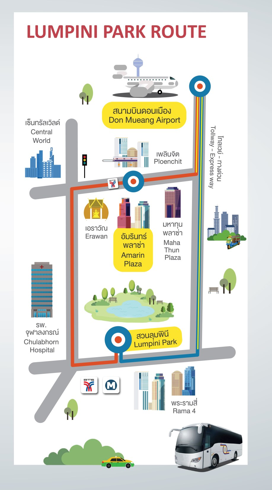 Limo Bus Route : DON MUEANG - BTS CHIT LOM - KHAO SAN
