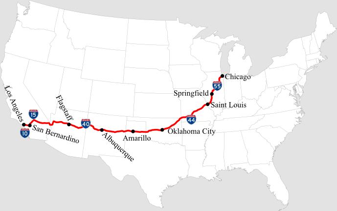 แผนที่เส้นทาง Route 66 (ภาพจาก Wikipedia)