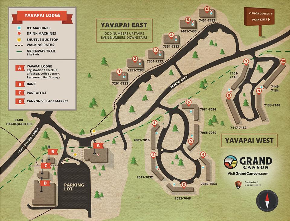 แผนที่ Yavapai Lodge Grand Canyon (คลิกเพื่อดูขนาดเต็ม)