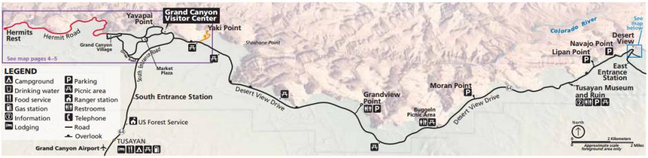 แผนที่ Grand Canyon South Rim (คลิกเพื่อดูภาพขนาดเต็ม)