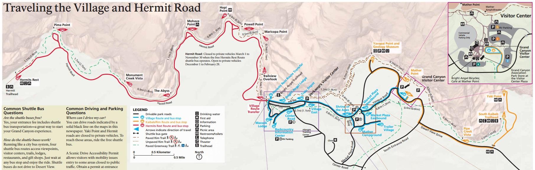 แผนที่ Grand Canyon ชั้นใน (คลิกเพื่อดูแผนที่ขนาดเต็ม)