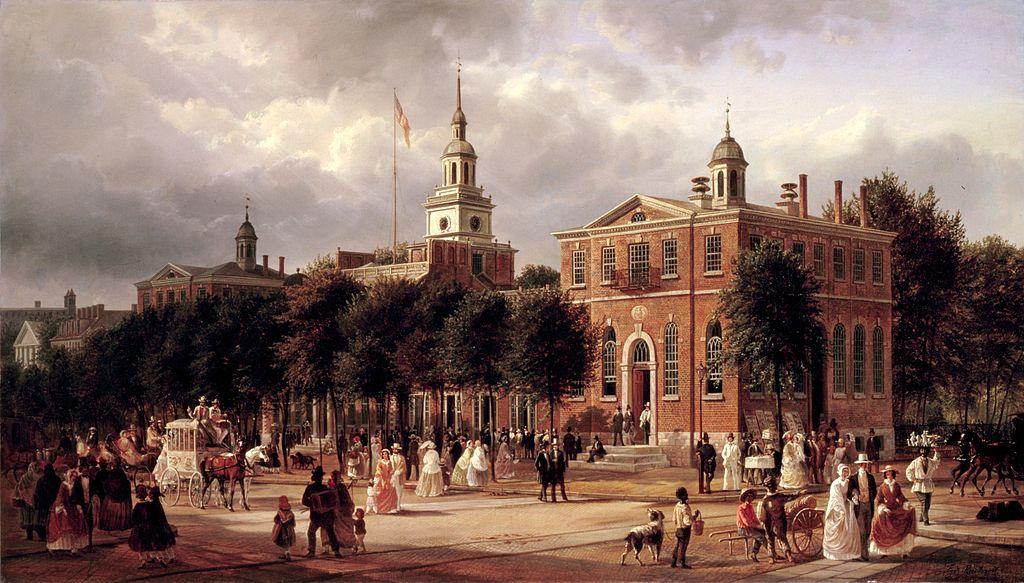 ภาพวาด Independence Hall อาคารจุดกำเนิดประเทศสหรัฐอเมริกา โดยศิลปิน Ferdinand Richardt