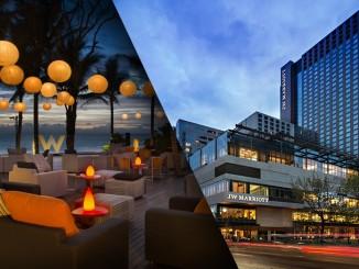 ภาพโรงแรม W ในเครือ Starwood (ซ้าย) กำลังจะเป็นทองแผ่นเดียวกับ Marriott (ขวา)
