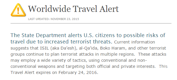 State Department Travel Warning