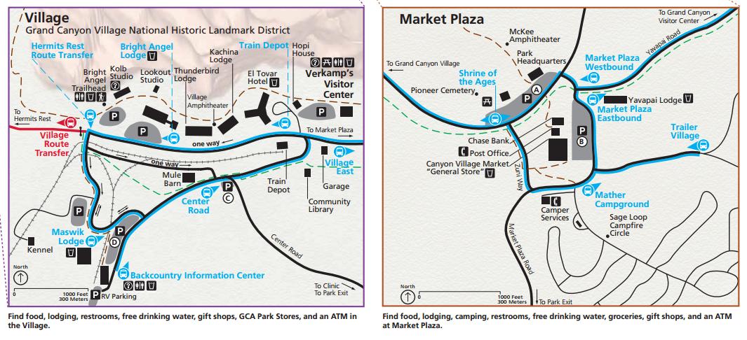 แผนที่ Grand Canyon Village และ Market Plaza (คลิกเพื่อดูภาพขนาดเต็ม)