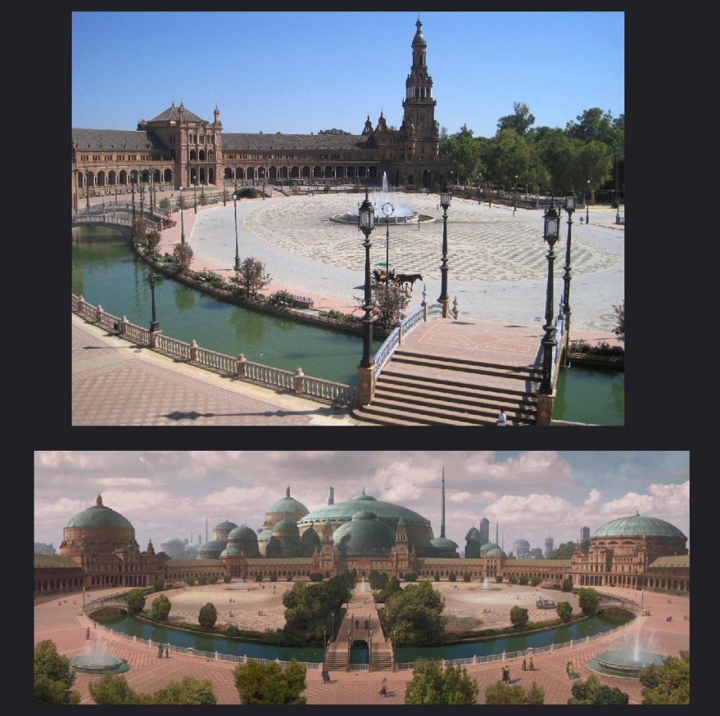 ภาพเปรียบเทียบ Seville (บน) และ Theed (ล่าง) จาก StarWars.com