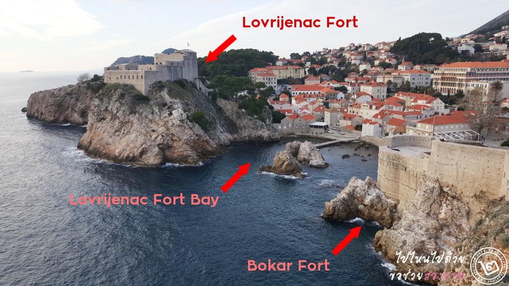 ภาพแสดงภูมิประเทศรอบๆ Lovrijenac Fort