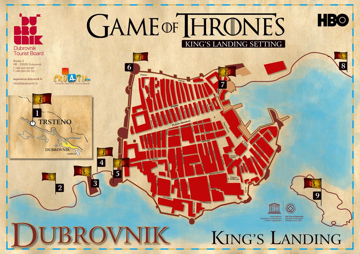 แผนที่เมืองเก่า Dubrovnik (คลิกเพื่อดูภาพขนาดเต็ม)