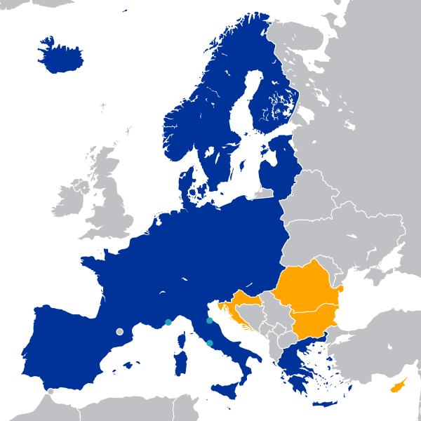 แผนที่กลุ่มประเทศเชงเก้น (Schengen Area) ภาพจาก Wikipedia