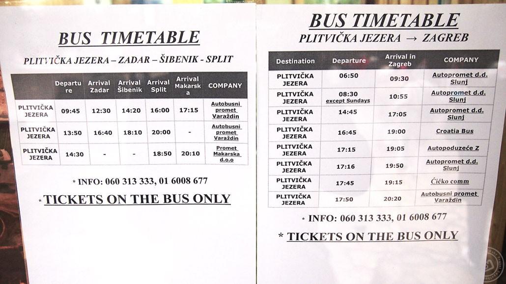 ตารางรถบัสไปอุทยาน Plitvice