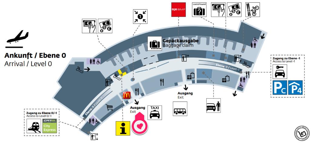 แผนที่จุดจอดรถ VAL สนามบินเวียนนา