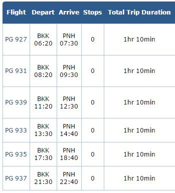 ตารางเวลาบินเส้นทางกรุงเทพไปพนมเปญของ Bangkok Airways