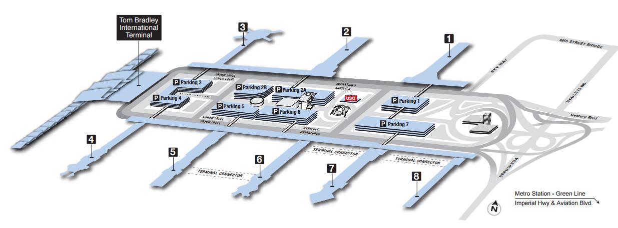 แผนที่สนามบิน Los Angeles (LAX)