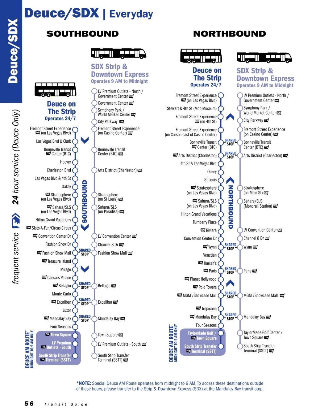 แผนที่เส้นทางเดินรถ RTC Deuce /SDX ในลาสเวกัส (Las Vegas)